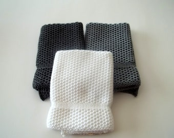 Dishcloths Knit in Cotton, in Angel, White, Smoke, Knit Dishcloths, Wash Cloths, Dish Cloths