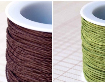 1mm Twisted Cord Fern Green / Choclate Brown / Cinnamon Brown 3 Metres