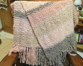 Coral Stripes Hand Knit Shawl