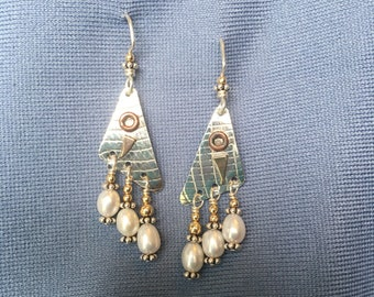 Mixed metal freshwater pearl earrings