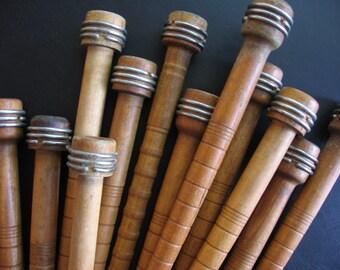 Antique Wooden Industrial Loom Spools Bobbins Textile Spindles, Set of 12 - 1900's
