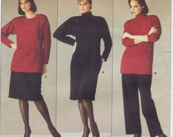 80s Calvin Klein Womens Pullover Dress, Top or Tunic, Skirt & Pants Vogue Sewing Pattern 1212 Size 10 Bust 32 1/2 UnCut American Designer