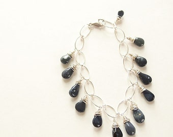 Dark blue opal potch beaded bracelet on wide link silver chain - Twilight Bracelet