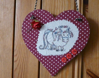 Hanging heart with pony