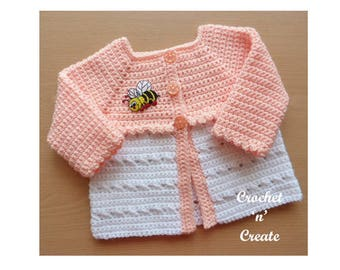 Criss Cross Matinee Coat Baby Crochet Pattern (DOWNLOAD) CNC25