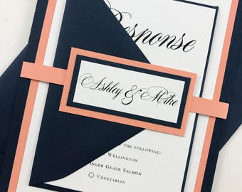 Navy Blue Coral Romantic Wedding Invitations Complete Wedding