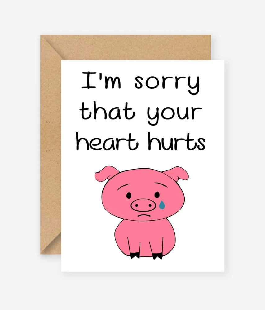 Im sorry your heart hurts greeting card blank inside zoom kristyandbryce Gallery