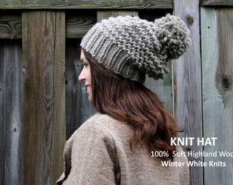 knit hat, 100% Soft Highland Wool, wool knit hat, winter knit hat, Knit pom pom hat, Knit beanie hat, soft and cozy, hand-knit hat