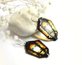 Fairy lights earrings Lantern transparent earrings for sister gift for nephew Elven earrings Orange resin earrings Elf jewelry for wife gift