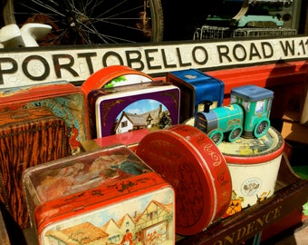 London Photography, Portobello Road, Notting Hill, Vintage Tins, Photo Art Card, Wall Art, Greeting Card, Carte Blanche Images