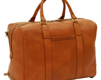 Leather Duffel Bag in Gold made of Genuine Italian Leather - Travel Bag - Leather Bag - Laptop Bag - Leather Briefcase - Mens Gift