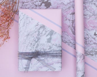 Grey And Pink Marble Wrapping Paper,Birthday Gift Wrap,Marbled Painting Wrapping,Holiday Gift Wrap