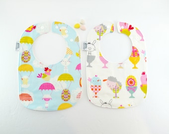 50% off SALE Easter Bibs, Baby Bibs, chicks, bunnies, lambs, eggs, easter egg, easter gift, feeding bib, Triple layered fits 3 mths to 2 yrs