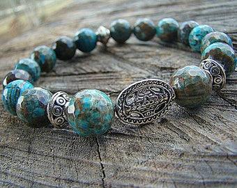 Turquoise Bracelet, Silver Bead Bracelet, Gemstone Bracelet, Stretch Bracelet, Beaded Bracelet, Bohemian Style Bracelet, Boho Chic, Stacking
