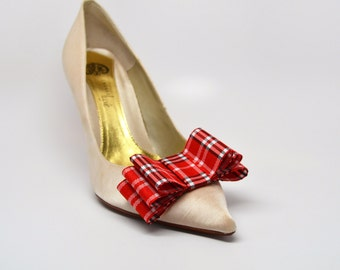 Bow Shoe Clips Set Of Two Plaid Tartan Red and White