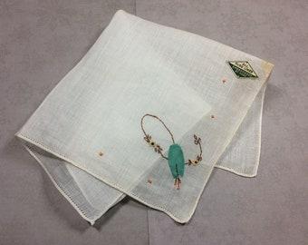 """Vintage Hankie White, Hand Embroidered Flower, 10"""" Linen"""