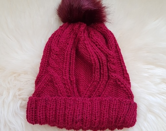 READY TO SHIP-Knit Cable Beanie with Fur Pom Pom - Burgundy | wine knit hat - Fur Pom Pom knit beanie - Knit winter hat