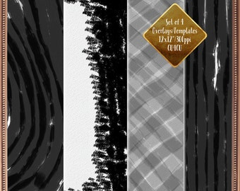 Digital Paper Overlays - Grunge Overlays - Scrapbooking Supplies - Paper Pattern Overlay - Handdrawn Grunge - Handrawn Texture Overlay