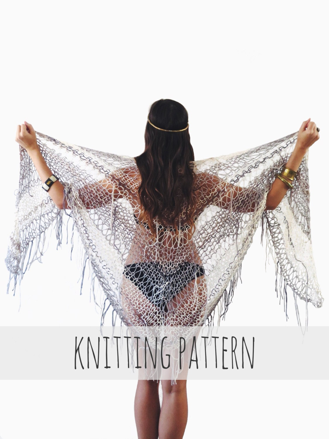 PATTERN for Knit Wrap Beach Cover Up Boho Triangle Poncho