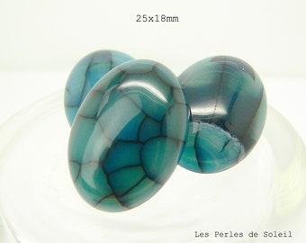 1 cabochon oval gemstone 25x18mm blue dragon vein