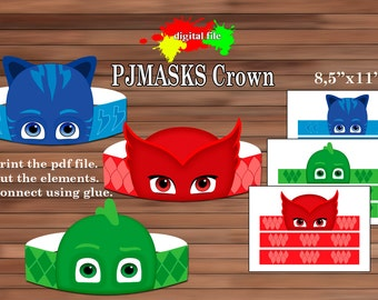 PJmasks Paper Crown, Paper crown, PDF, Instant Download