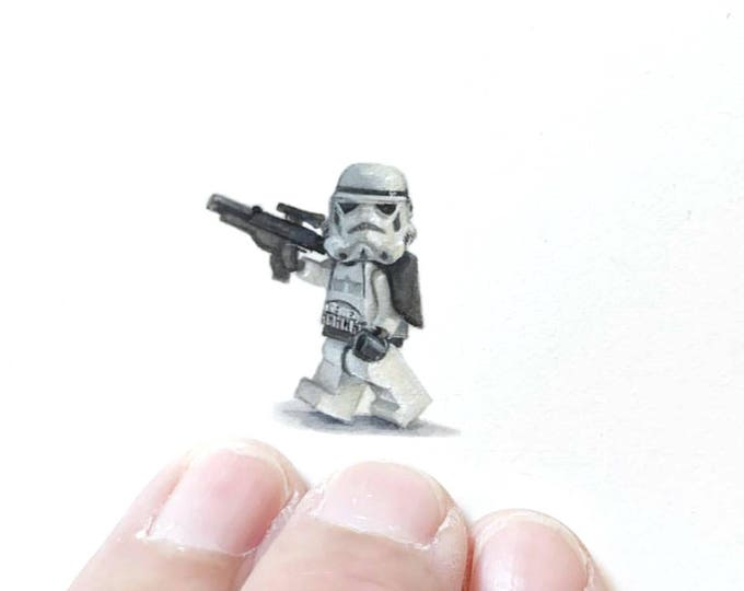 Print of miniature watercolor painting of Lego Storm trooper.  giclee print of Star Wars storm trooper