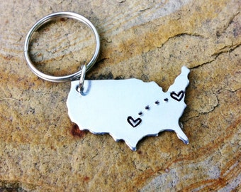 Going Away Gift - PERSONALIZED CITY - STATE - Long Distance Relationship Keychain_#STATEtrl