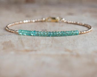 Emerald Bracelet, Gift for Mom, Gift for Wife, Gemstone Jewelry, Boho Bracelet, Dainty Bracelet, May Birthstone, Stacking Bracelet, Gold