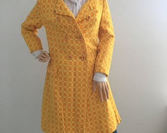 1960's vintage mod orange/yellow coat size S/M