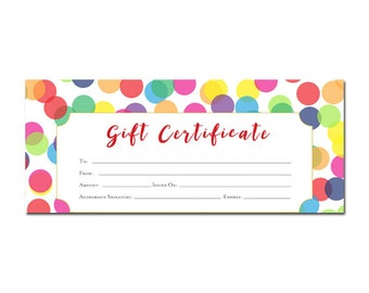 Confetti Birthday Gift Certificate, Gift Certificate Printable, Gift Certificate, Gift Certificate Download,gift certificate template,gift