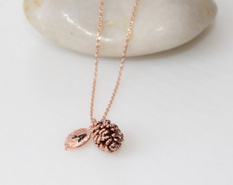 SPECIAL SALE-Rose Gold Pinecone Necklace, Pinecone Necklace, Rose Gold Jewelry, Personalized Jewelry