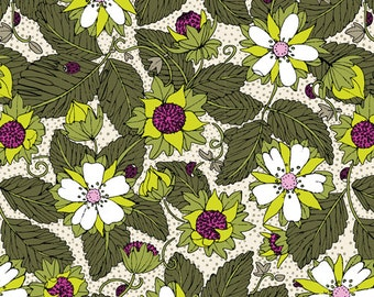 Organic Cotton Fabric 2 yards yardage by Cloud9 from the Garden Secrets collection strawberry green - berries - voile - quilter's weight