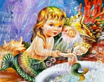 Little Mermaid Fabric Cotton Block Panel Baby Merbaby Vintage Postcard Print BM128