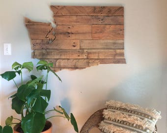 Large Washington State Sign | Reclaimed Wood | Pallet Sign | Rustic Home Decor | Wall Art | Evergreen State | Pacific Northwest | PNW Decor