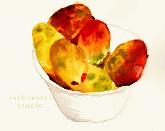 """Reprinted watercolor painting by daughter, Charlotte: """"Mangoes"""", 4"""" X 6 1/4"""" blank folded card"""