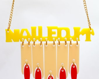 Laser cut acrylic jewellery necklace perspex jewellery plastic jewelry quirky nails accessory