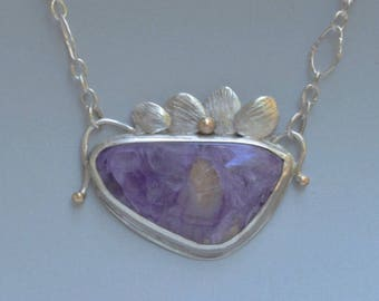 Large Charoite Necklace in Silver and Gold, Purple Stone Botanical Pendant, Nature Inspired Jewelry, Statement Necklace, Gift for Her