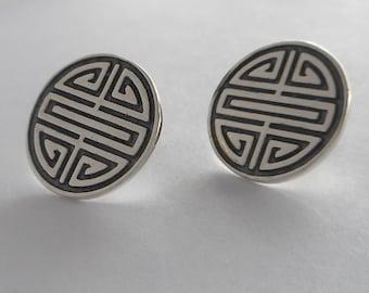 Sterling Silver Chinese Longevity Symbol Earrings Made in Montana Fine Jewelry Chinese Shou Earrings Stud Earrings Birthday Gift for Women
