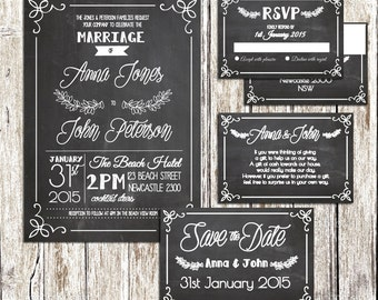 Black Chalkboard Engagement OR Wedding Set