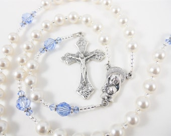 Personalized Rosary for Baptism or First Communion - White and Blue Swarovski crystal - baby boy