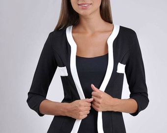 Black white jacket office jacket everyday jacket woman jacket Black jacket without buttons Business woman clothing contrast jacket party