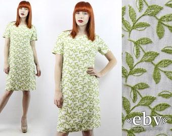 Vintage 60s White Embroidered Shift Dress L Embroidered Dress Hippie Dress Hippy Dress White Dress Summer Dress