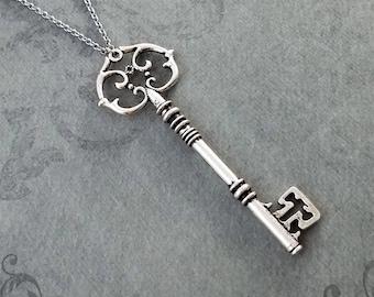Key Necklace Victorian Key Pendant Necklace Skeleton Key Charm Necklace Vintage Key Antique Key Bridesmaid Necklace Teenage Girl Steampunk