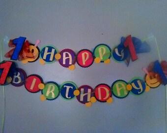Baby Einstein Caterpillar Happy Birthday Banner, Caterpillar Birthday Banner, Baby Einstein Decoration