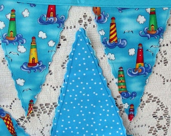 Beachy LIGHTHOUSE PENNANT FLAGS, Vibrant Stripe Towers Deep Blue Sea Puffy White Clouds, Turquoise Ocean & Sky, Nautical Whimsy 9' Banner