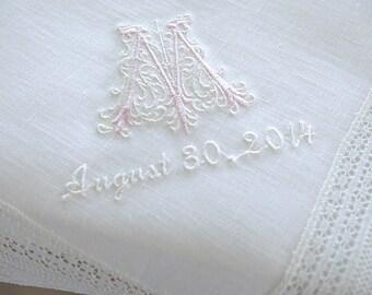 Wedding Handkerchief: White Irish Linen Lace Handkerchief Style No. 724L with Classic Zundt 1-Initial Monogram