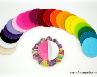 "Set of 10 - 1.5"" Adhesive Felt Circles - YOU CHOOSE the COLOR -  Sticky Felt Circles for Baby Headbands"