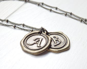 Minimalist Antique Gold Monogram Necklace - Letter Necklace - Initial Necklace