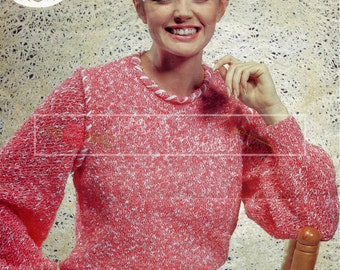 "Lady's Sweater 30-40"" DK Sirdar 6657 Vintage Knitting Pattern PDF instant download"
