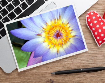 Waterlily Photo Note Card, Blank Greeting Card, Floral Photo Notecard, Fine Art Photo Card, Floral Card,  Blank Stationery, Purple Card
